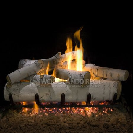 CHIC BURN: For my new family room fireplace! The best looking by far!  Sierra Birch Gas Log Set by Woodland Direct! - Sierra Birch Vented Ceramic Gas Logs Only Log Insert. This One Is