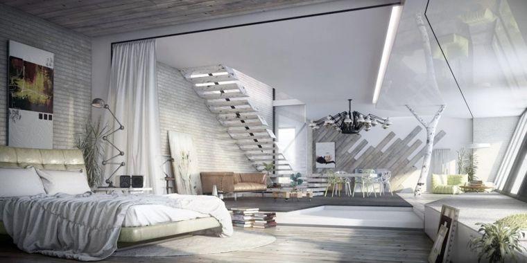 Photo of open-space-zona-notte-colore-bianco-scale-mobili-soggiorno-decorazioni