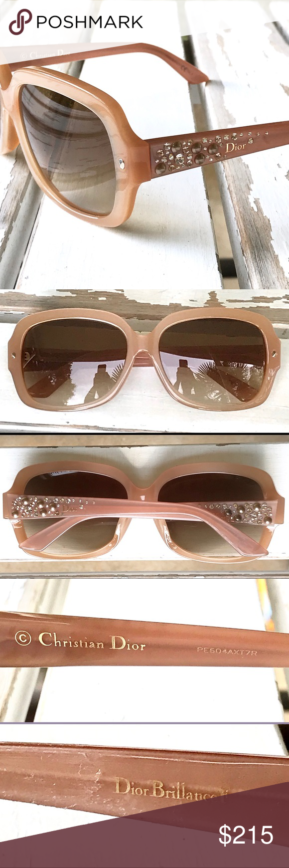 3ec193628f NWT - DIOR Brilliance F Sunglasses Authentic CHRISTIAN DIOR Sunglasses •  Style  DIOR BRILLIANCE F • Color  6ZF JD - Beige Pink Opal with Brown  Gradient Lens ...