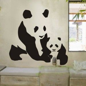 AnimalChinesePandasWallDecalStickerLivingRoomStickers - Vinyl wall decals asian