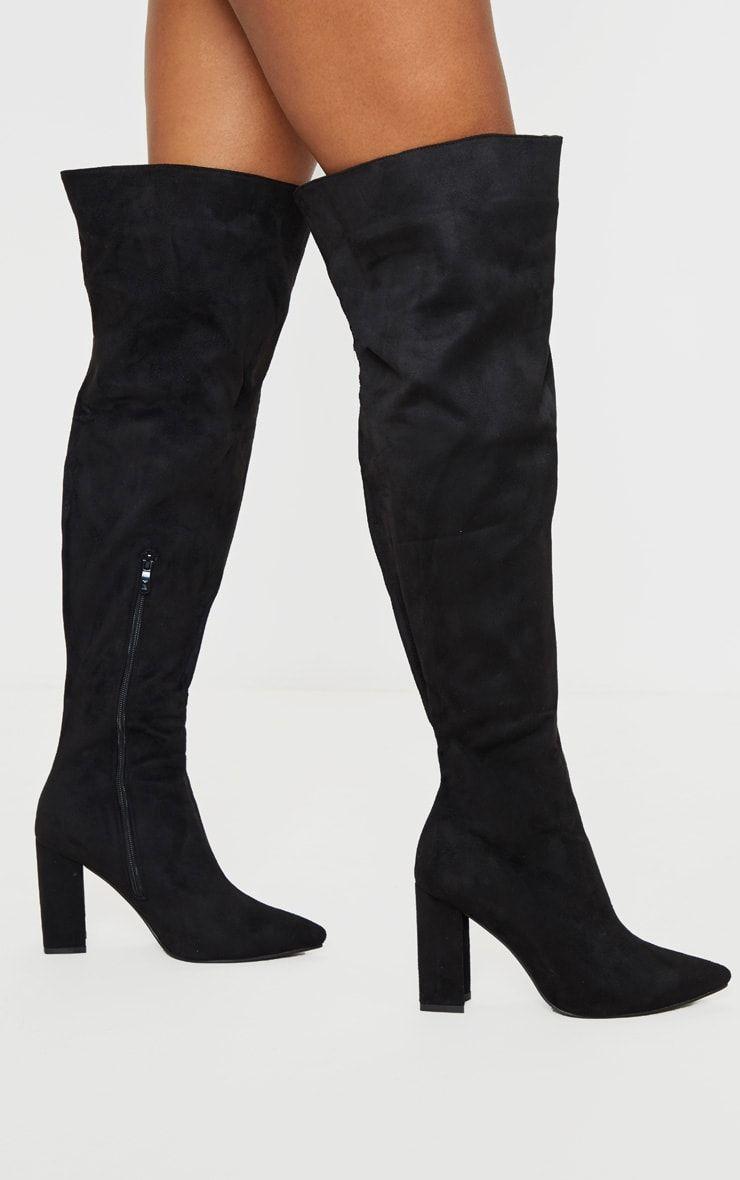 Black Wide Fit Block Heel Thigh High