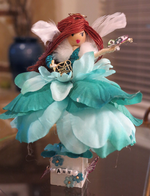 Custom for Ann Bendy Doll, Flower Fairy, Teal Petals, Handmade, OOAK ...