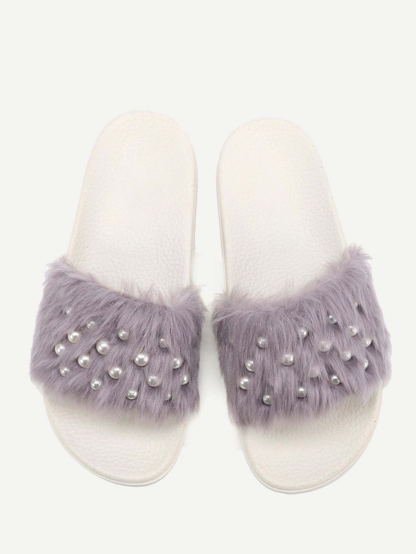 e3961c975a2a Faux Fur Flat Slippers With Faux Pearl