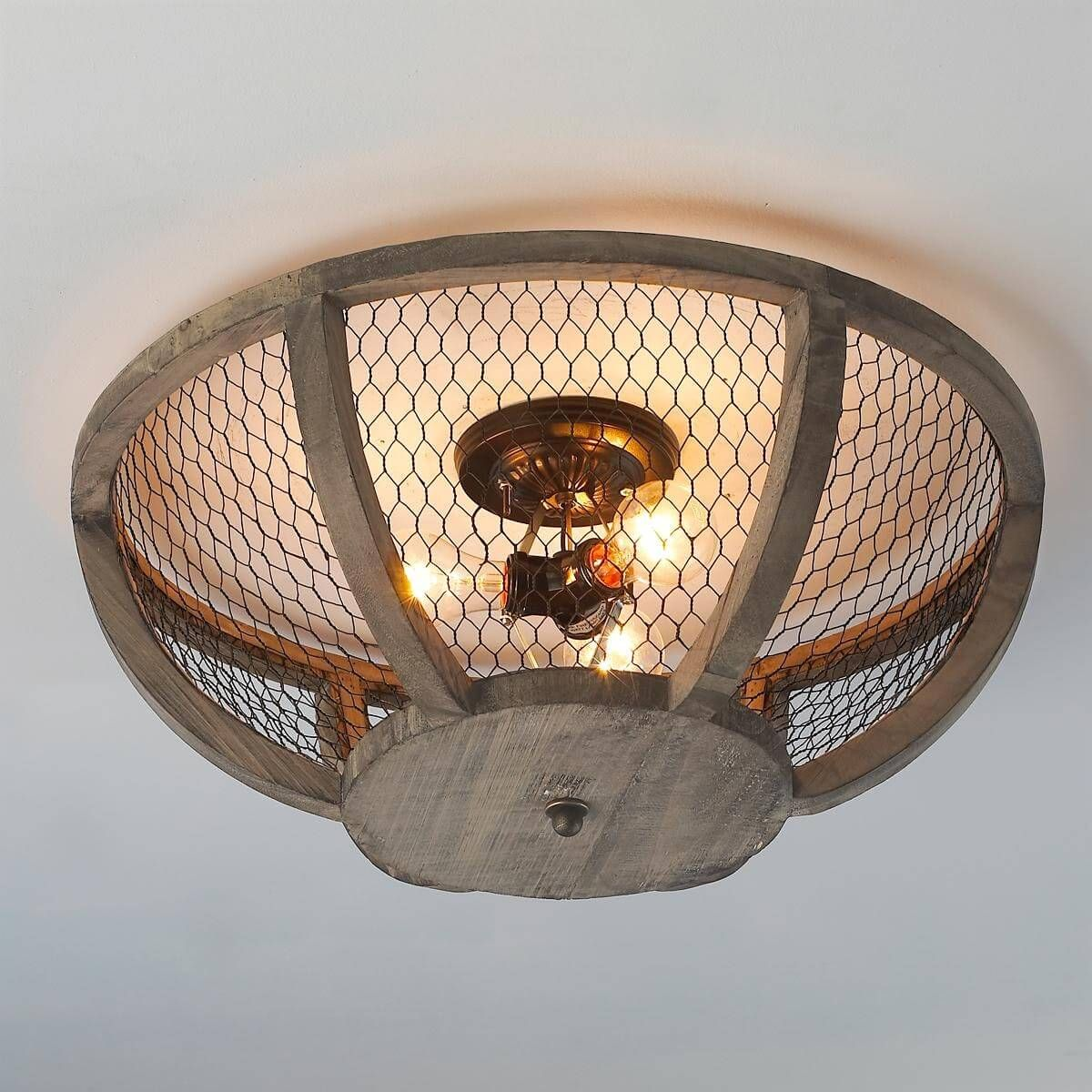 36 Farmhouse Lighting Ideas to Brighten Up Your Space in a Charming     36 Farmhouse Lighting Ideas to Brighten Up Your Space in a Charming Way  Ceiling  Light Fixture With Chicken Wire Shade