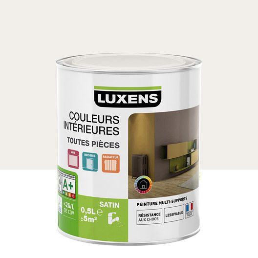 Peinture multisupports Couleurs intérieures LUXENS, blanc calcaire n - peinture satin ou mat