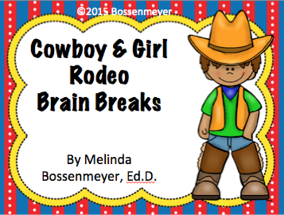 Cowboy and Cowgirl  Rodeo Brain Break Cards from Peaceful Playgrounds Shop on TeachersNotebook.com -  (7 pages)  - Students have fun with this Cowboy and Cowgirl Rodeo set of 16 brain break cards.  Some examples include:  gallop around the room like a horse, do your best line dance, and jog around the cowboy hat.