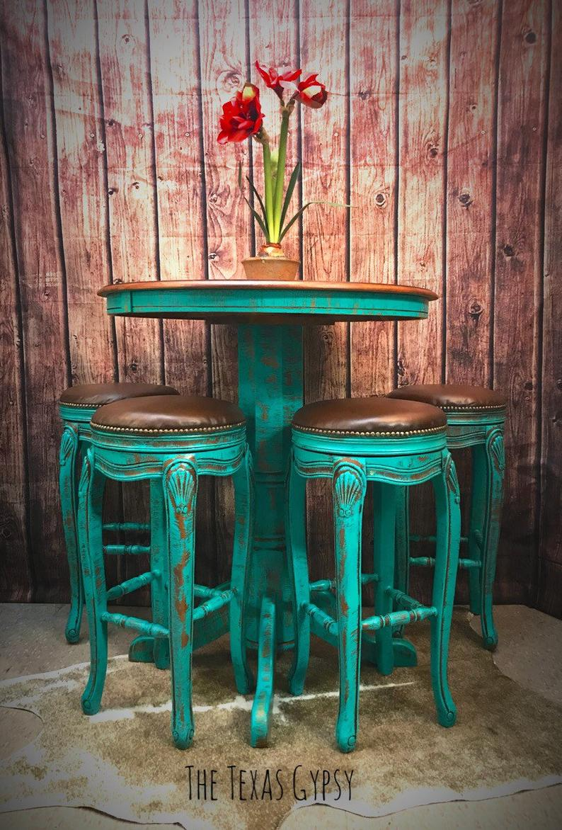Turquoise Rustic Boho Bar Height Table w/ French ...