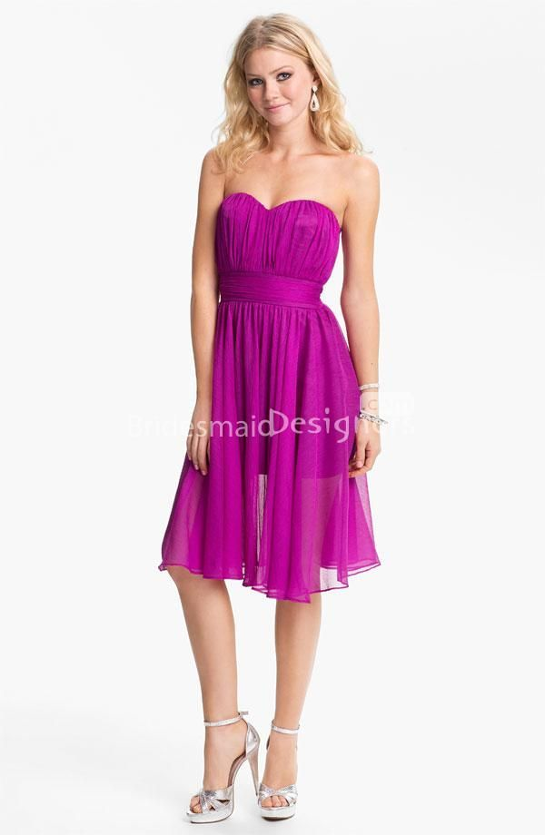 Fuschia Chiffon Sweetheart Strapless Knee Length A-line Bridesmaid ...