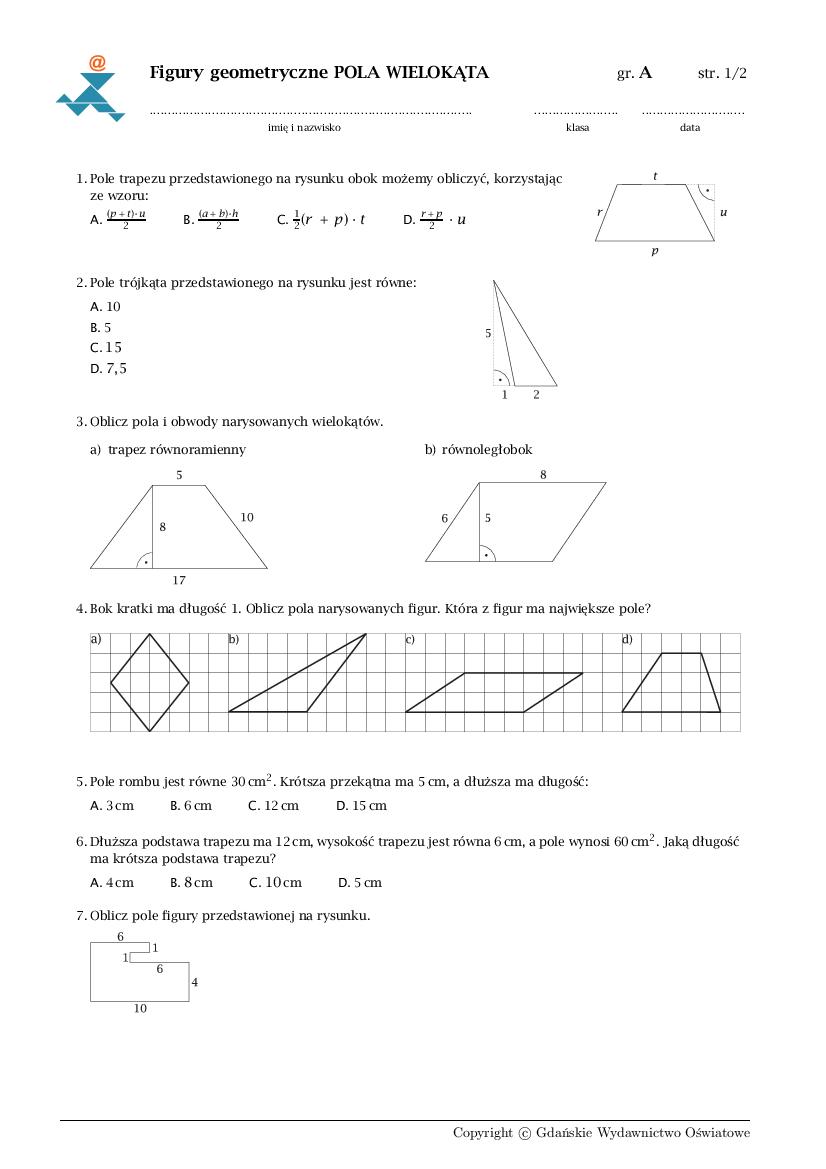 pola figur klasa 5 sprawdzian pdf gwo