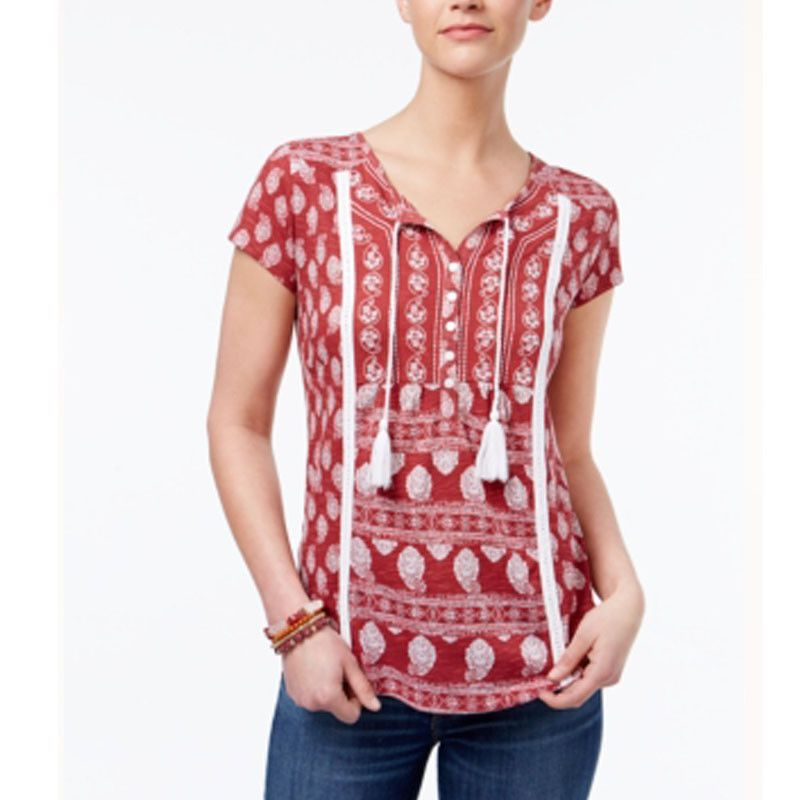 7b5a9025f40e9 Style   Co XXL Red White Print Embroidered Tasseled Peasant Top Blouse 1621   Styleco  Blouse  Casual