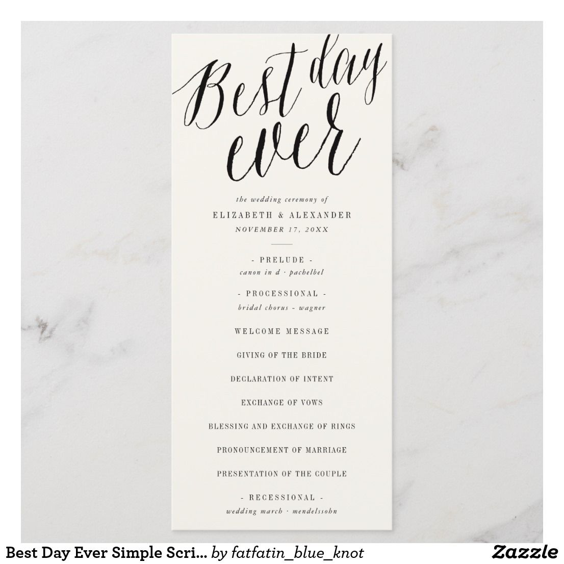 Modern Wedding Ceremony Songs: Best Day Ever Simple Script Wedding Program Card