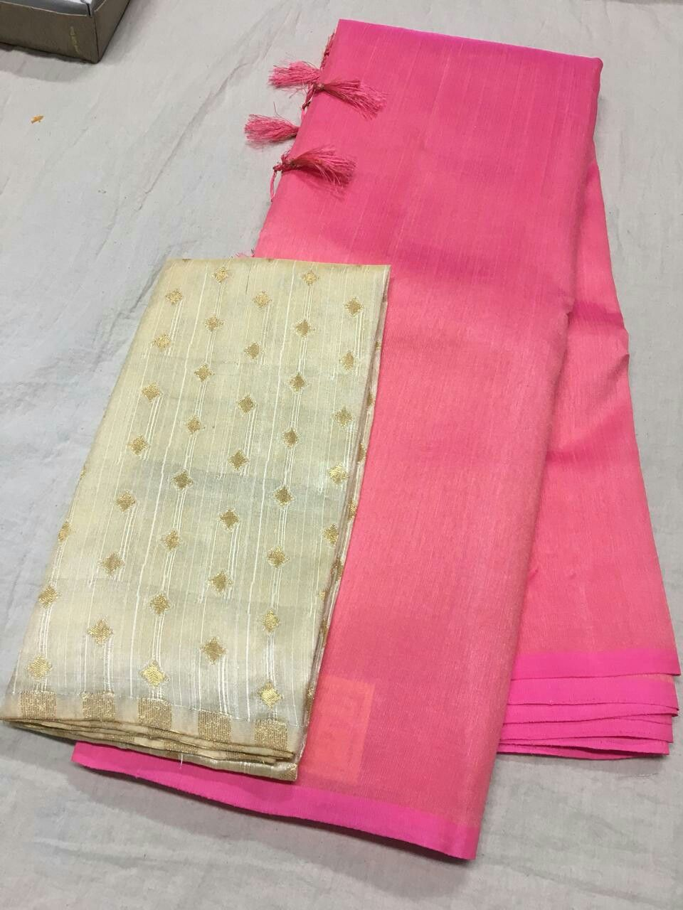 d2b643b285770 Pure raw silk dupian plain saree N heavy blouse 2400+  Order what s app  7093235052