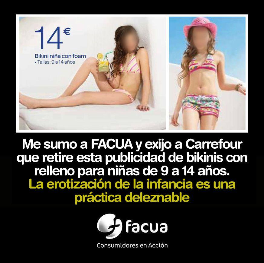 Me sumo a FACUA y exijo a Carrefour que retire esta publicidad de bikinis con relleno para niñas