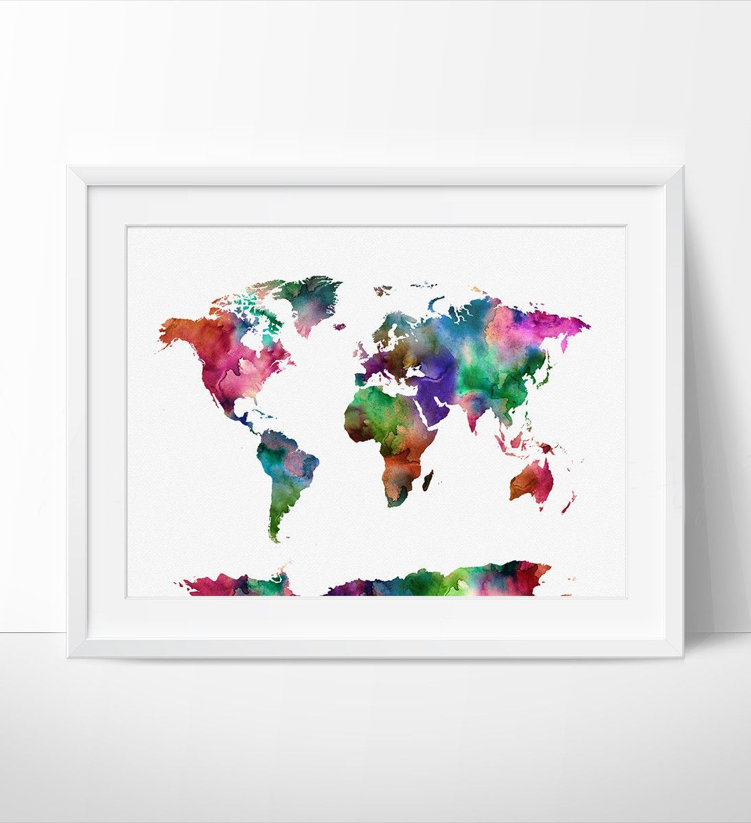 World Map Watercolor Art Print Travel Map Large World Map World - Large world map painting