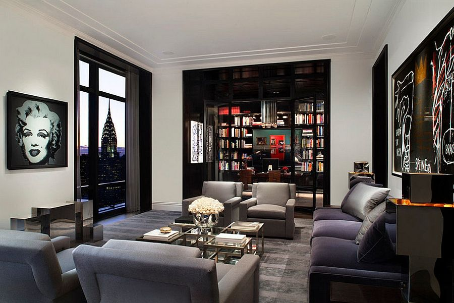 Spectacular View Of New York City Skyline Adds To The Appeal Living Room Masculine RoomsLiving