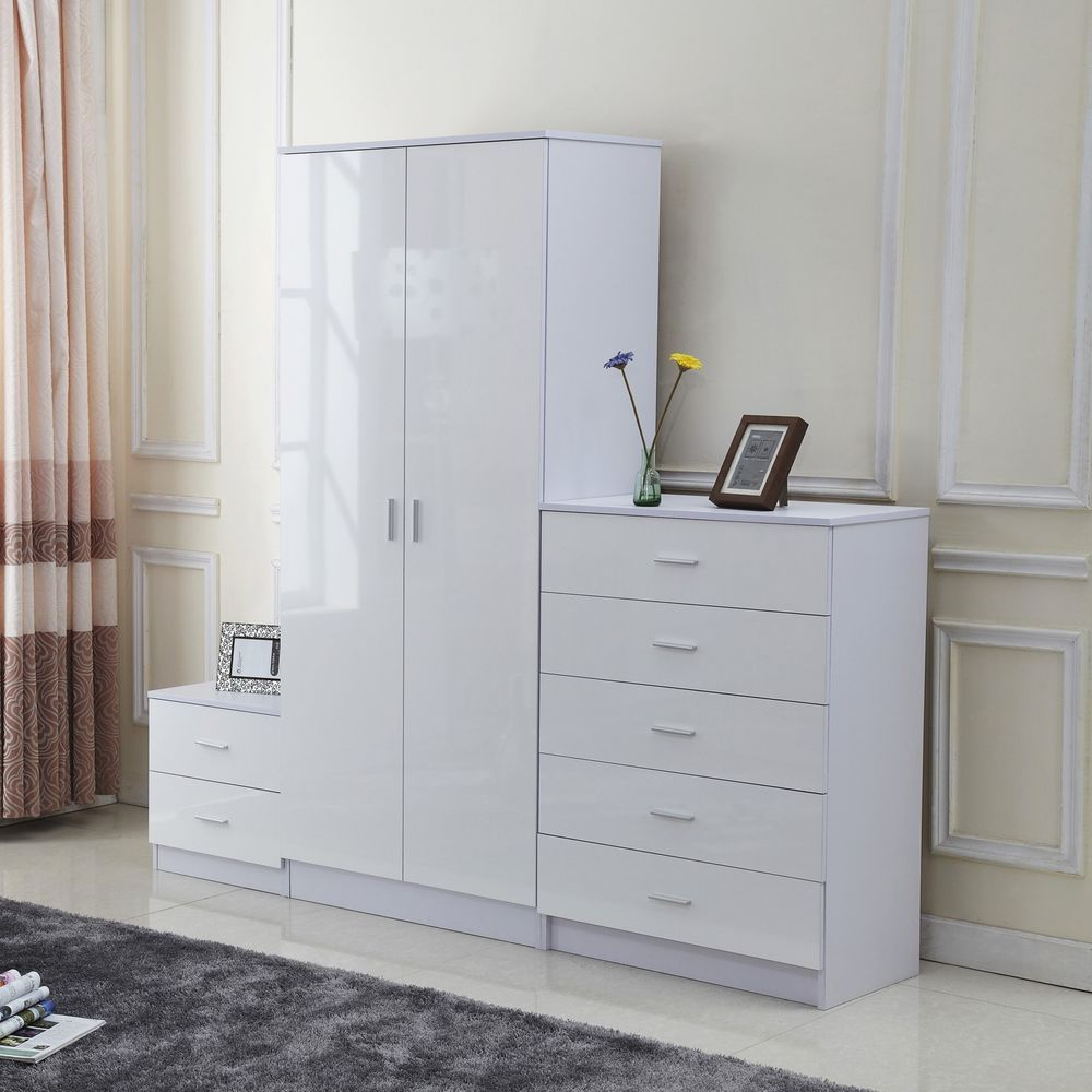 White wardrobe set pieces glossy finish wooden storage home