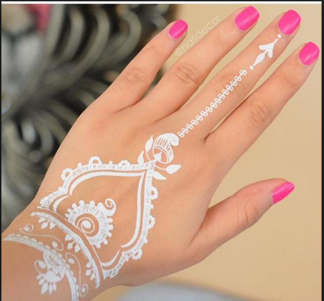 Adorable Simple White Henna