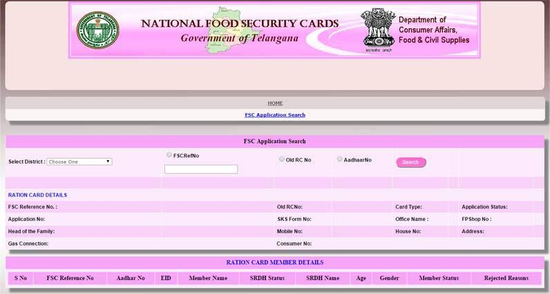 Epds Telangana Food Security Card Status Epds Telangana Gov In In