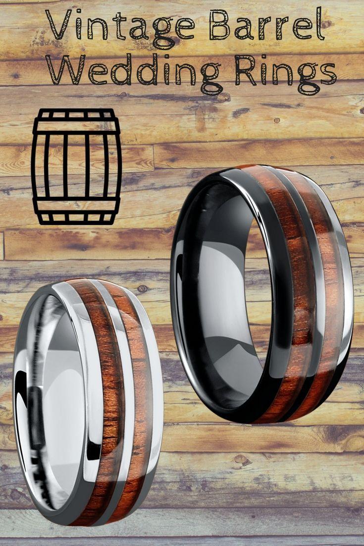 Mens vintage barrel wedding rings inlaid with genuine koa wood