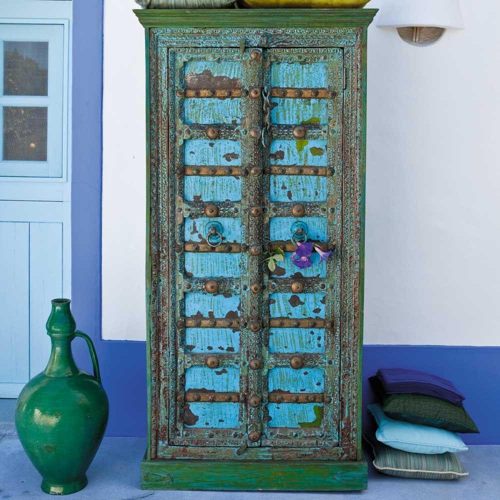 armoire indienne en manguier massif bleue effet vieilli l 90 cm