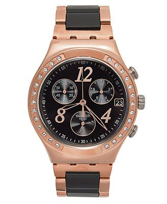 Swatch Watch, Unisex Swiss Chronograph Dreamnight Rose Rose Gold PVD Stainless Steel and Black Nylon Link Bracelet 40mm YCG404G