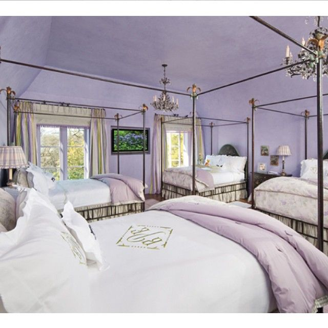 Lavender And Gold With Chandeliers, My Oh My! Betty Lou Phillips Design.  #interiordesign #lavender #gold #bedroom #chic