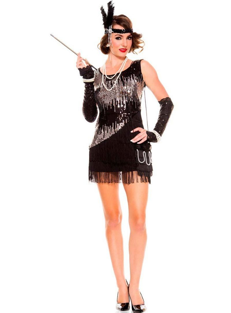 NEW Black Lady 1920s Roaring 20s Flapper Costume Sequins Outfit Fancy Dress