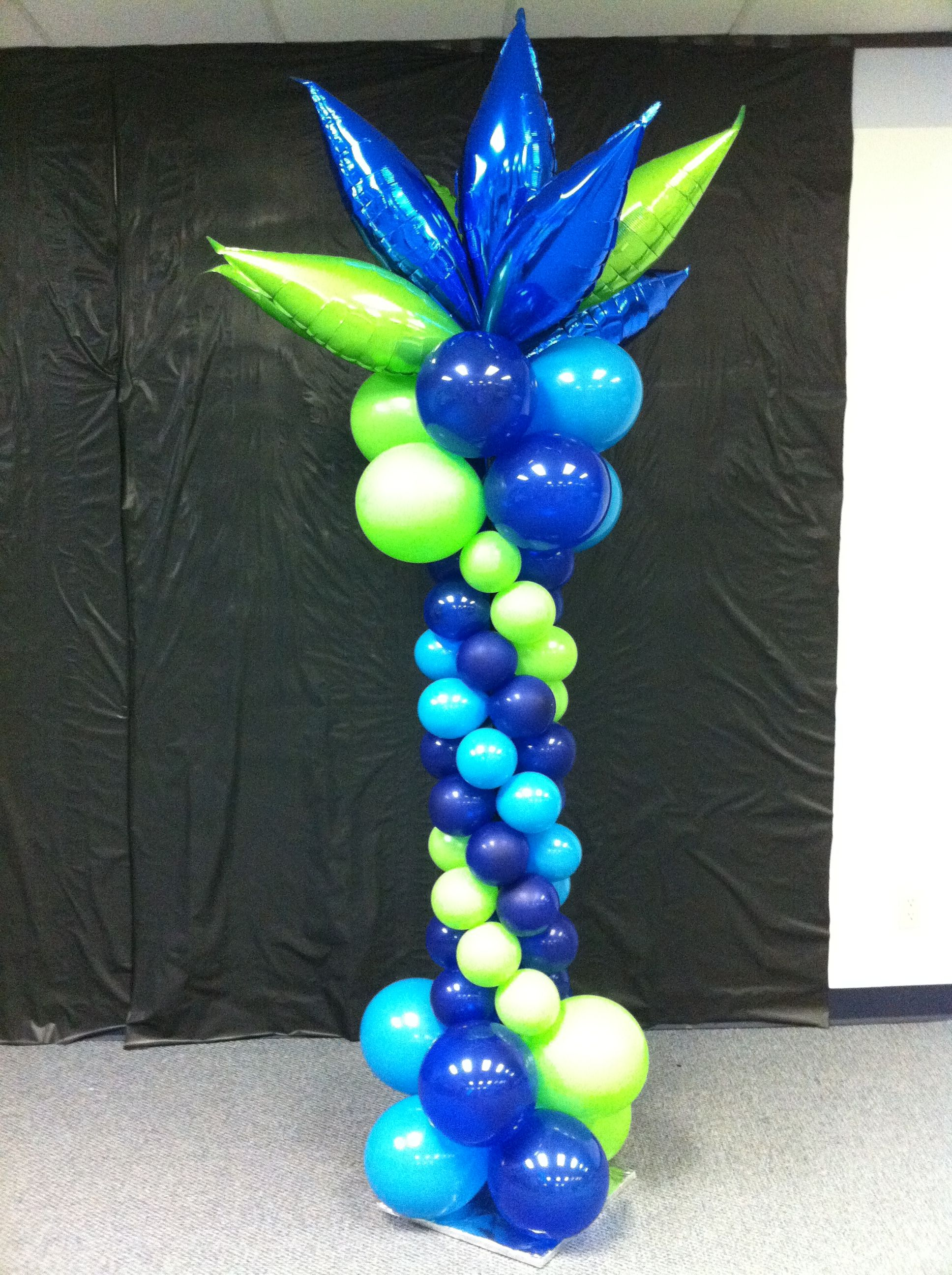 Green and blue balloons - Blue And Lime Green Balloon Columns Columns Column Balloon Decor Decoration Delivery Balloons Houston