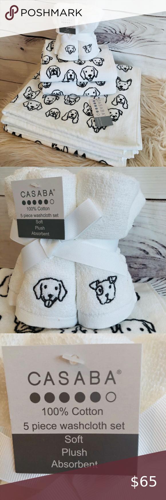 Casaba Nwt 9 Piece Bath Towel Set Cute Dogs Towel Set Bath Towel Sets Black And White Dog