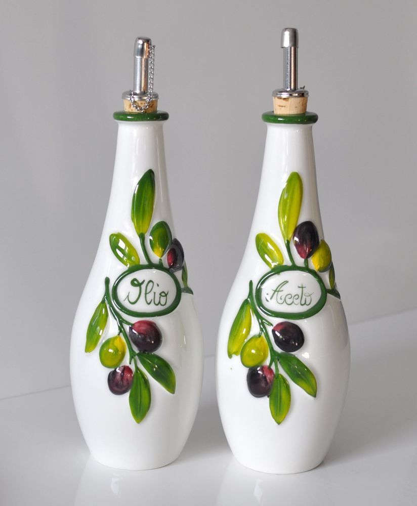 Bassano Keramik 2er Set Essig Öl Flasche Oliven Relief Mediterranes Geschirr Bassano Keramik 2er Set Bottles Decoration Ceramics Mediterranean Dishes