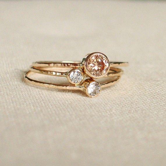 Wedding Ring Birth Gemstone Ring Gold Ring 14k Gem Stone Ring Knuckle ring Women/'s Ring Women/'s Jewelry, Rose Gold,Hand made