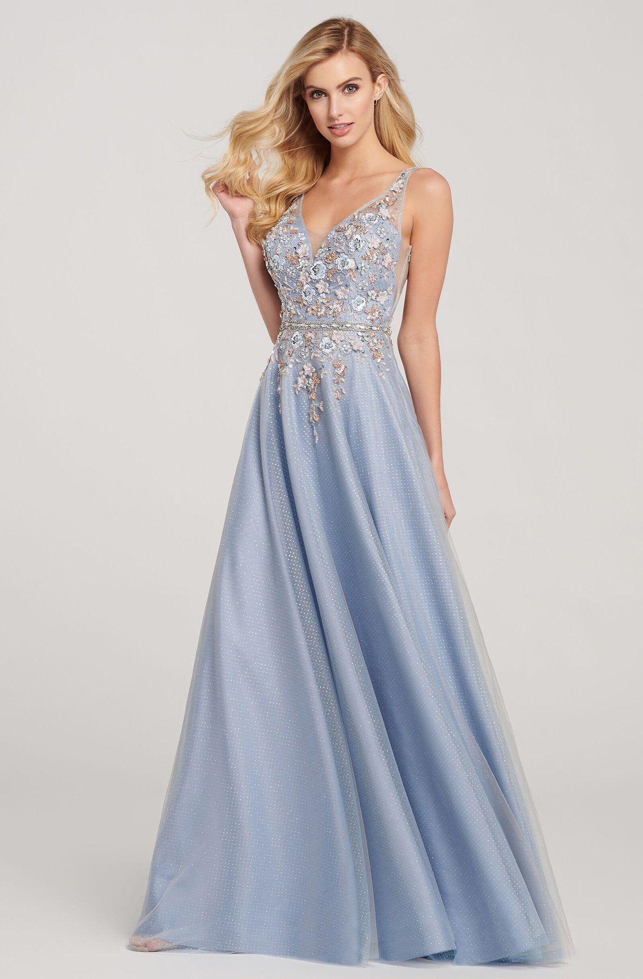 Ellie Wilde - EW119097 Floral Applique V-neck A-line Dress