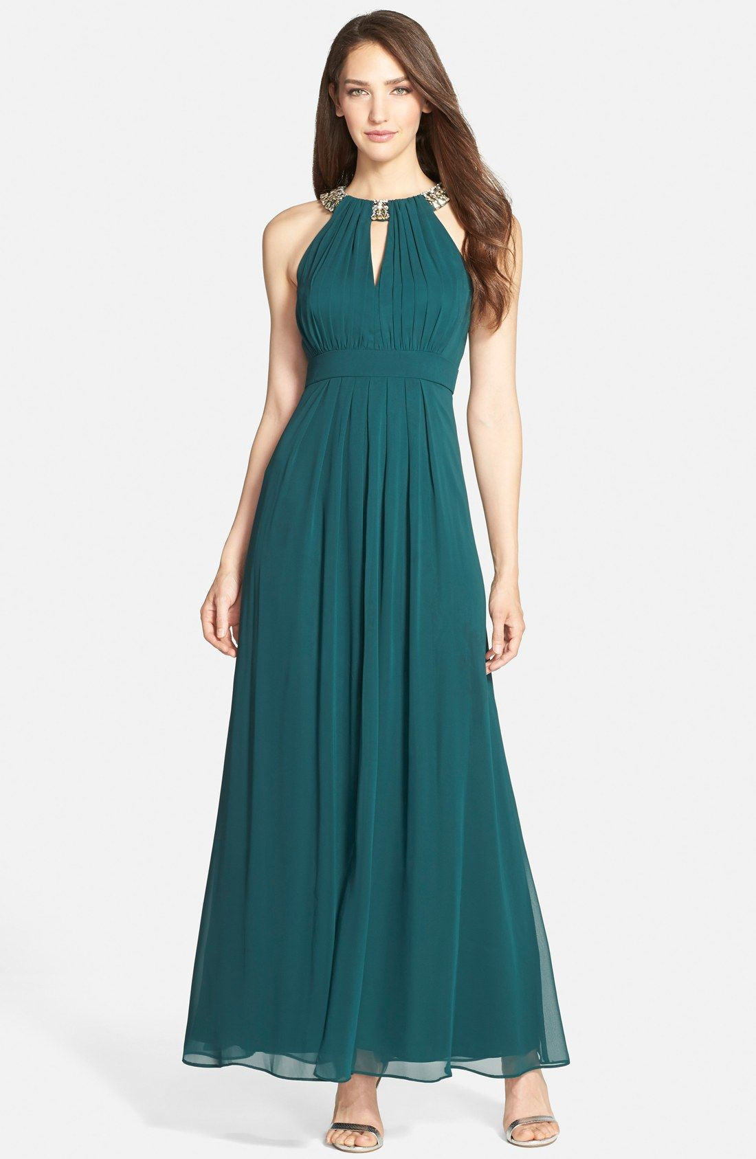 Eliza J Embellished Chiffon Fit & Flare Gown | dress | Pinterest ...