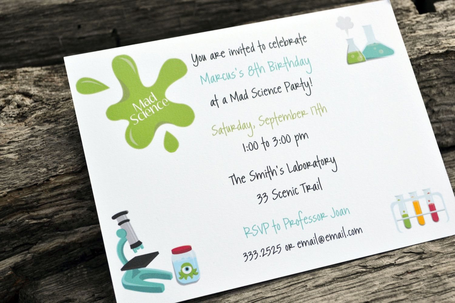 Kids Science Birthday Party Invitations / Kids Science Party ...