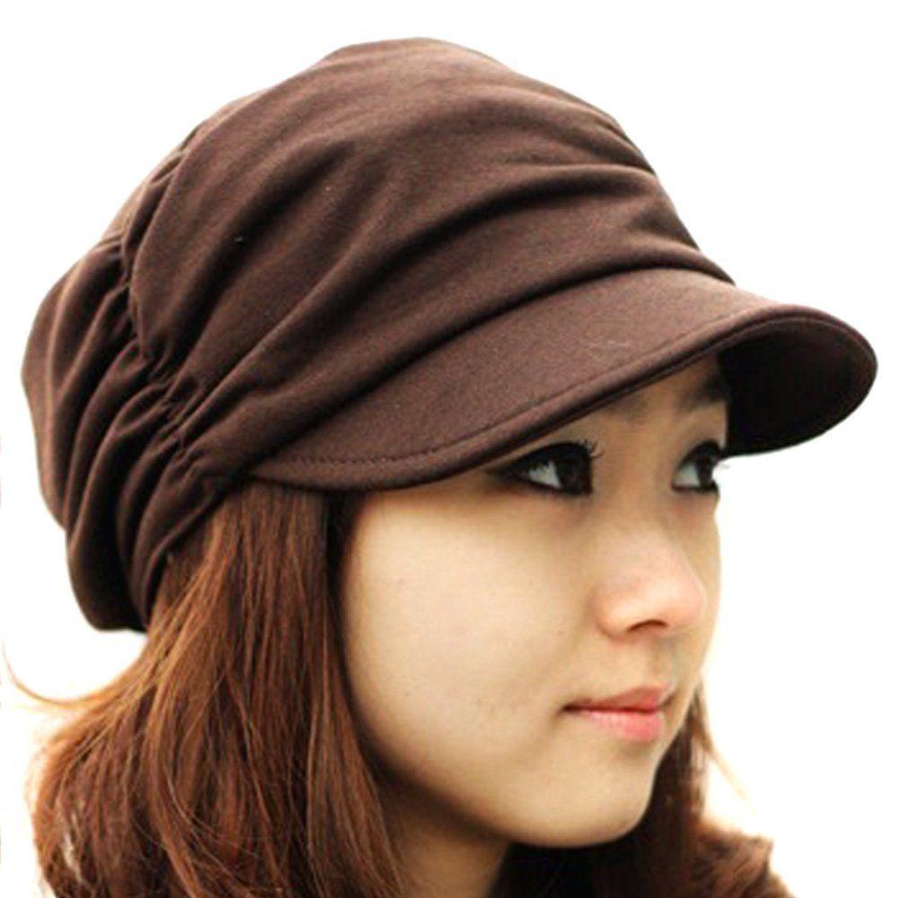 4c9ca0cca81 LOCOMO Women Girl Fashion Design Drape Layers Beanie Rib Hat Brim Visor Cap  FFH010BRN Brown  Amazon.co.uk  Clothing