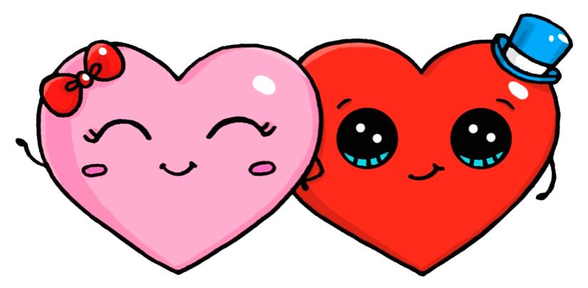 Heart Couple Cute Heart Drawings Cute Kawaii Drawings