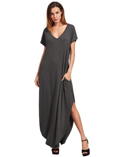 Dark Grey Rolled-cuff Pockets Split Maxi Dress -SheIn(Sheinside)