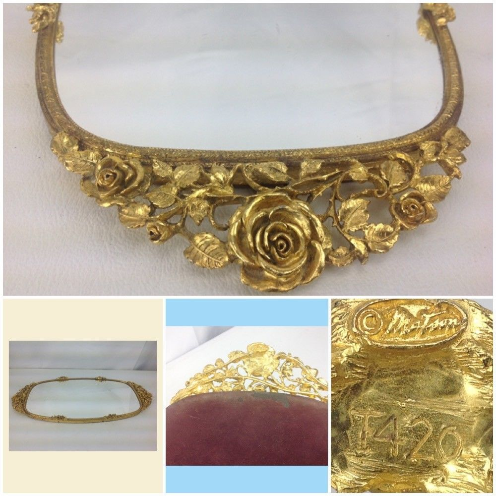 Vtg matson t ormolu kt gold rose dresser perfume vanity tray
