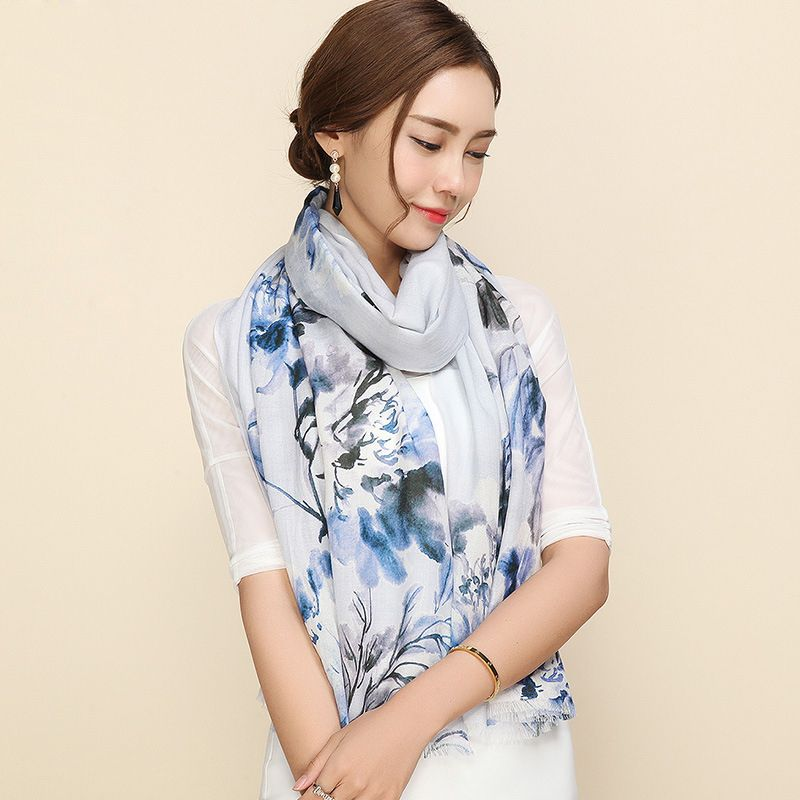 100% Wool Scarves Fashion Printed Women Scarf Shawl New Listing 2017 Autumn Winter Big Size 195 x 65 Female Woolen Shawls SC097