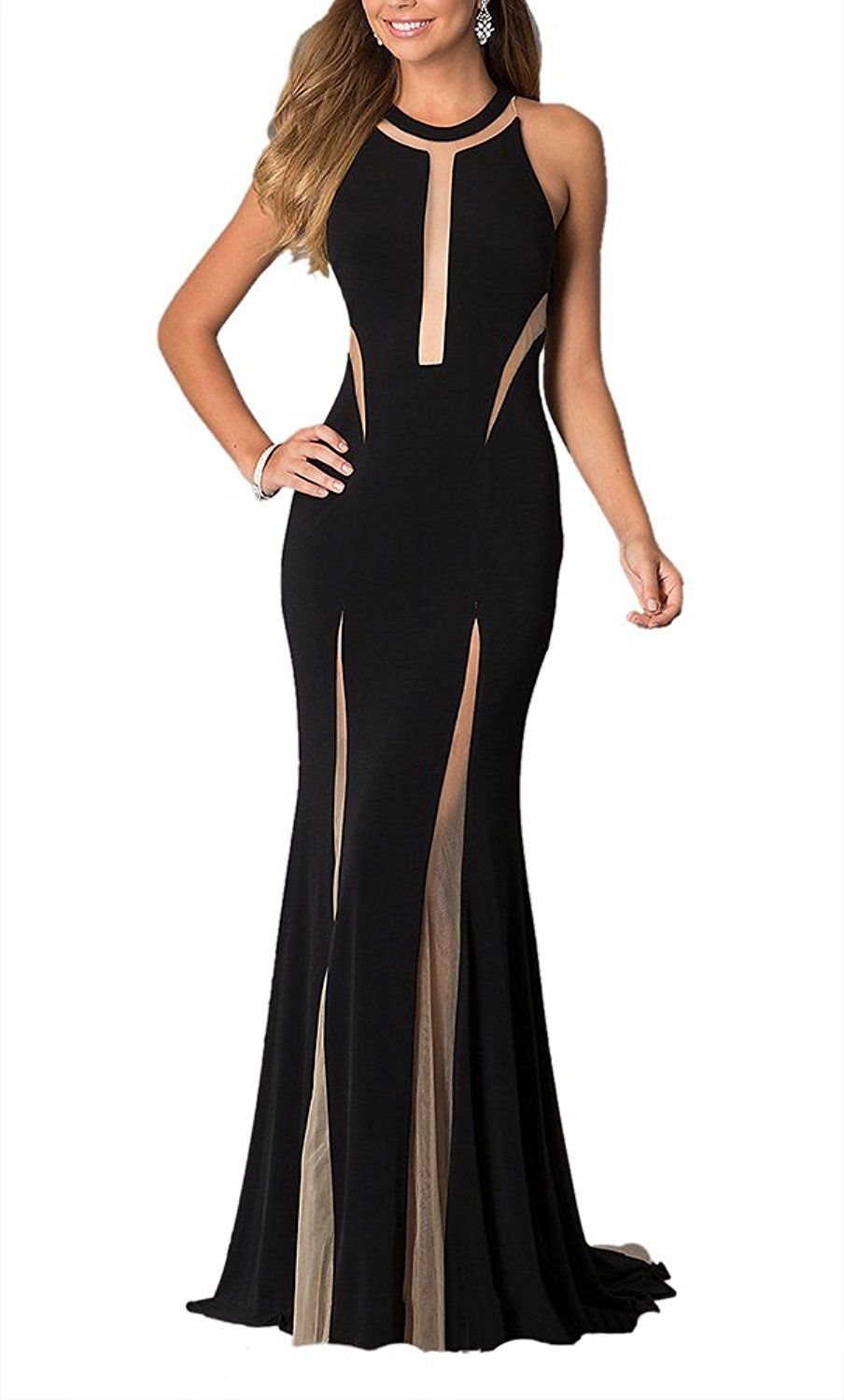 Lecheers women seethrough sexy bodycon prom wedding evening maxi