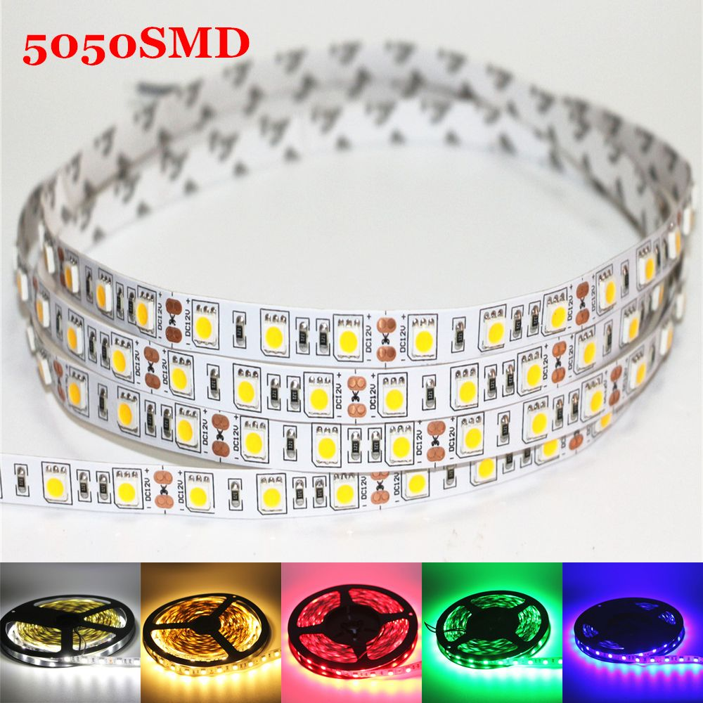 1 M 2 M 3 M 4 M 5 M Dc 12 V Flexible Led Bande Lumiere 5050smd Ip20 Non Impermeable A L Eau 60 120 180 240 300 Led Haute Luminosite 10mm Rgb Led Bande Flexible