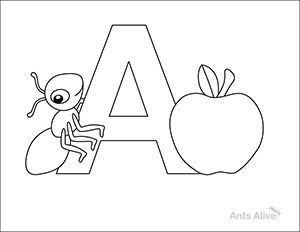Free A Is For Ant Coloring Page For Kids Activities For Kids Homeschool Writing Coloring Pages For Kids