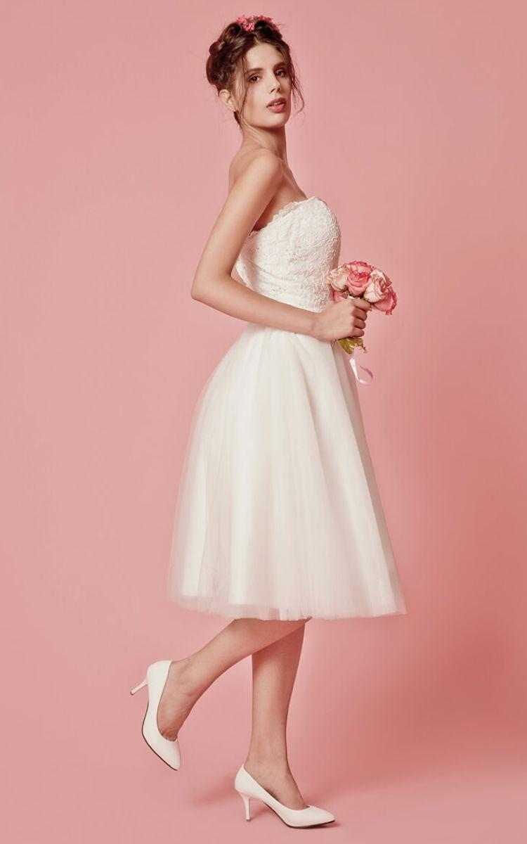 Cap sleeved aline knee length wedding dress with jacket