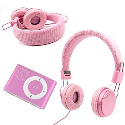 DURAGADGET Pink Ultra-Stylish Kids Fashion Headphones With Padded Design, Button Remote And Microphone For Hello Kitty 8GB MP3 Player