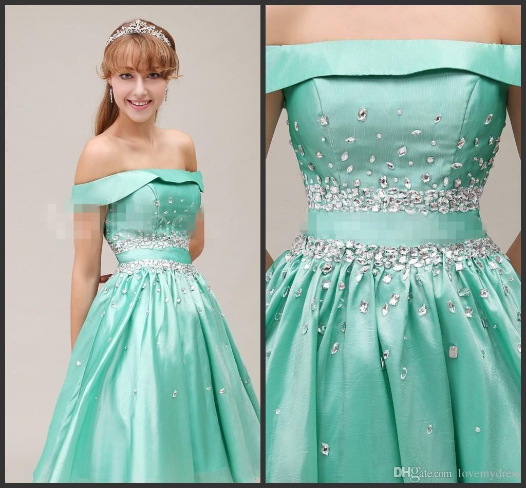 Sage Homecoming Dress Full Crystals Elegant Knee Length Sparked ...