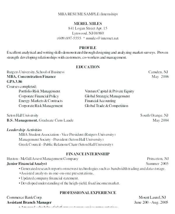 Job Resume Samples, Mba Student