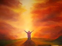 Prophetic Art painted in a worship meeting