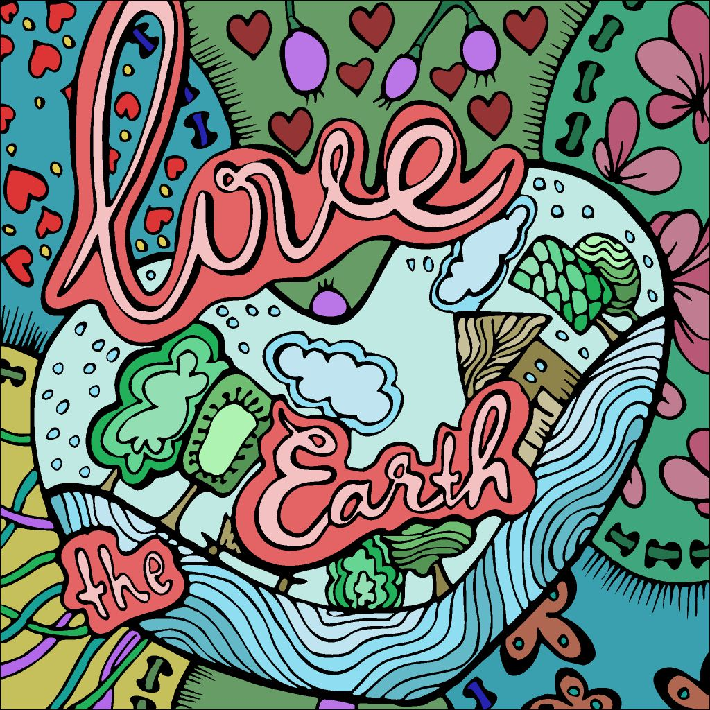 Love The Earth Coloring Book App Coloring Books Colorful Art