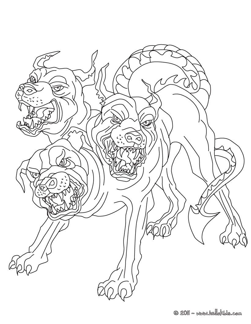 Kleurplaat cerberus the 3 headed dog guadian of hades coloring page
