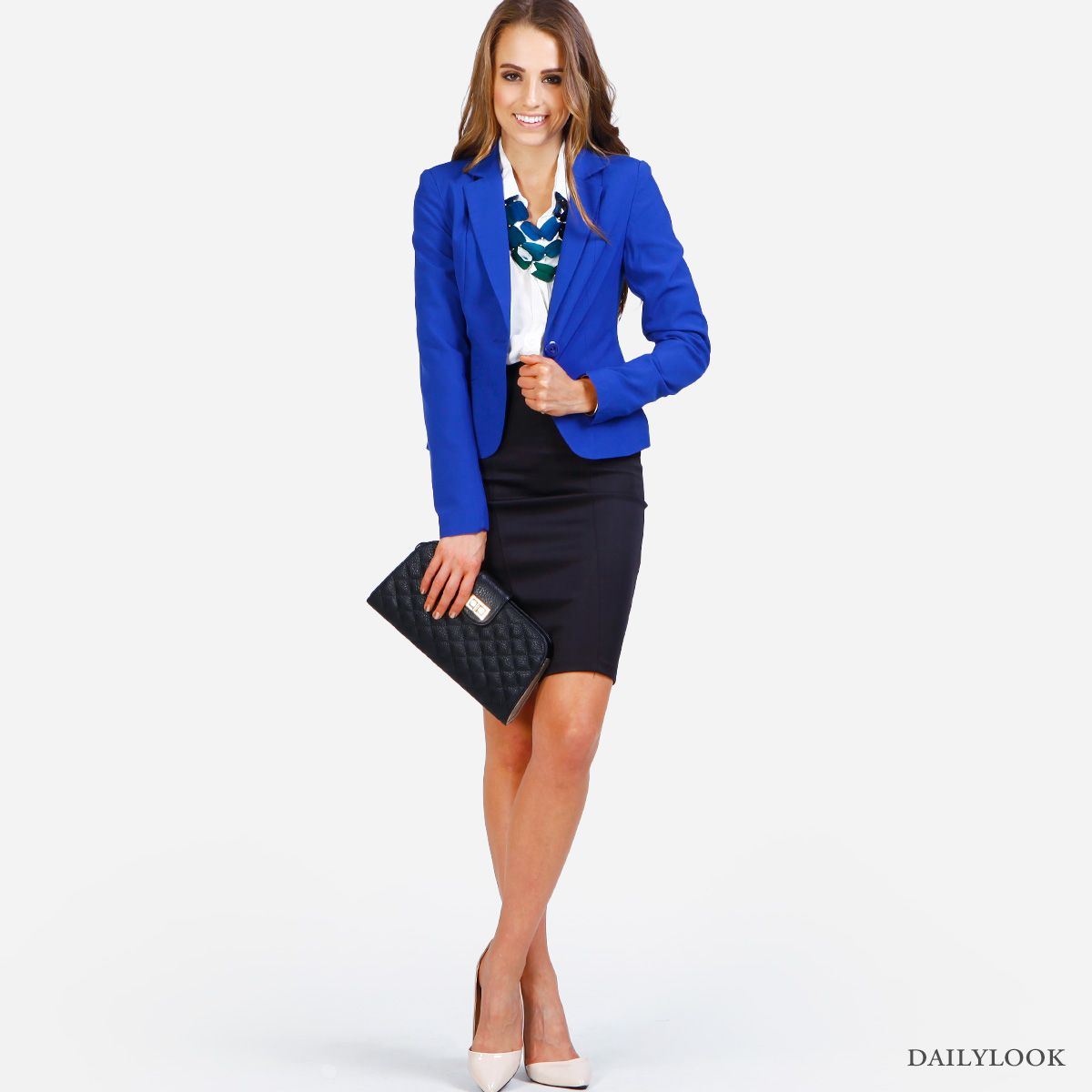 e50e79106 Royal blue blazer, pencil skirt, statement necklace, clutch | pencil ...